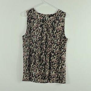 Ann Taylor leopard top blouse sleeveless sz 10
